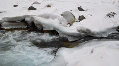 Transparent pure water flows among ice and rock Stock Footage