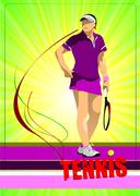 woman tennis player. colored vector illustration for designers - stock illustration