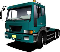green  truck. lorry. trailer. vector illustration - stock illustration