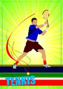 man tennis player. colored vector illustration for designers - stock illustration