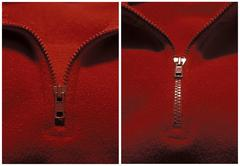 before and after, zipper open and closed - stock photo
