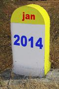 Stock Photo of milestone, destination  written year 2014