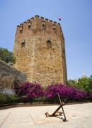 Red tower alanya castle turkey Stock Photos