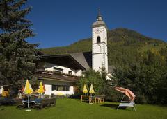 Church in grosskircleim hill village austria Stock Photos