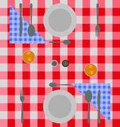 Abstract checkered dinner setting Stock Illustration