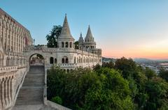 South gate of fisherman's bastion in budapest Stock Photos