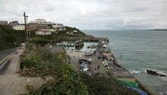 Cornish coast and harbour Stock Footage