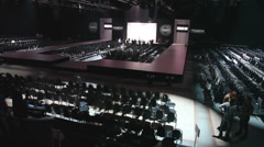 Stock Video Footage of Hall with catwalk in Gostiny Dvor during Volvo Fashion Week