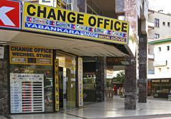 exchange office in alanya turkey - stock photo