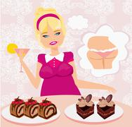 Stock Illustration of fat girl is afraid to eat calorie cakes
