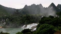 Detian Waterfall and the mountains in Guangxi, China Stock Footage