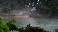 The panorama view of Detian Waterfall, Guangxi, China Stock Footage