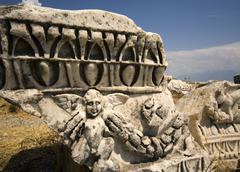 Fallen columns hierapolis pamukkale turkey Stock Photos