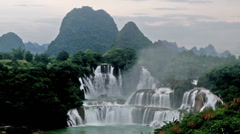 Detian Waterfall in the afternoon, Guangxi, China Stock Footage