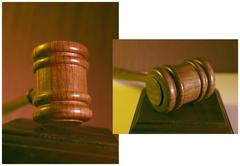 before and after, gavel, judge hammer, sentence - stock photo