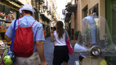 Tourists waling down a street in Sorrento Amalfi coast Stock Footage