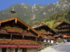 albach town most flowered place in austria - stock photo