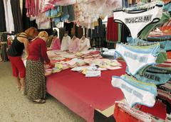 woman panties at turkish street bazaar alanya - stock photo