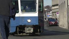 Zurich Tram followed by Swiss Police Stock Footage