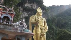 Kuala Lumpar - Gold Buddah3 CloseUp, Batu Caves Stock Footage