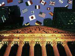 New york stock exchange, international flags Stock Illustration
