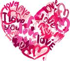 Stock Illustration of heart shape is made of brush strokes and scribbles and words love, i love you