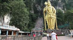 Kuala Lumpar - Gold Buddah4 Wide, Batu Caves Stock Footage