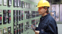 Engineer in control room Stock Footage