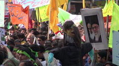 Iran anti America protest rally students demonstration puppet skull death - stock footage