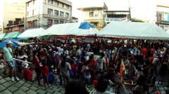 people crowd in flea market - stock footage