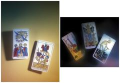 Before and after, tarot card, good and bad Stock Photos