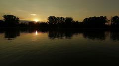 Lake waves sunset Stock Footage