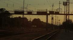 Bridge over railway sunset Stock Footage