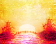 sunset in lake with pagoda - stock illustration