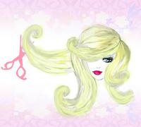 Hairdresser making haircut at beauty salon Stock Illustration