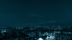 panorama of city evening. tinted. timelapse - stock footage