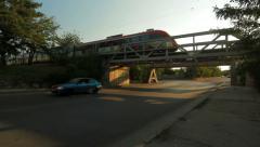 Train railway bridge city trafic Stock Footage
