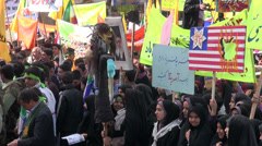 Iran, anti America protest, students, boys and girls separated - stock footage