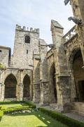 narbonne, cathedral cloister - stock photo