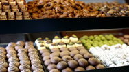 Stock Video Footage of variety delicious sweet food in the showcases 1