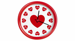 Clock with hearts. Seamlessly loops. Time lapse - stock footage