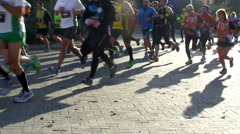 Runners in a marathon Stock Footage