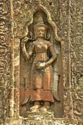 Decorative carving, preah khan temple, angkor area, siem reap, cambodia Stock Photos