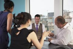 Business video interview - stock photo