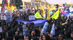 Iran protest, anti America, students, girls separated from boys Stock Footage