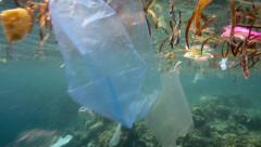 Underwater trash, plastic garbage marine threat Stock Footage