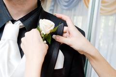 Hands of the girl attach a rose to the suit of the man Stock Photos