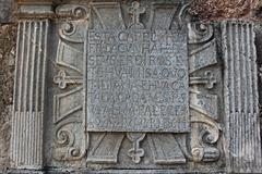 Relief on stone, part of the ruins of the church of st augustine, old goa, in Stock Photos