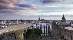 Seville city sunset time lapse Stock Footage