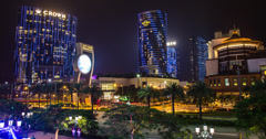 4K time lapse of the stunning Macau Cotai Strip and City of Dreams casino resort Stock Footage